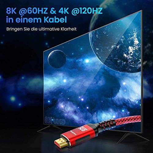 8K HDMI 2.1 Kabel 2M-Snowkids 8K@60HZ&4K@120HZ HDMI 2.1 Ethernet Kabel 7680P mit eARC Dolby Vision 48Gbps Dynamischer HDR HDCP 2.3 kompatible mit PS5, PS4, HDTV, PC - 4