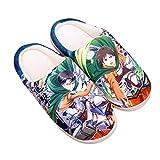 WWZY Invierno Attack on Titan Felpa Anime Zapatillas De Casa Eren Jaeger Hombre Mujer Supersuave Cómoda Pantufla Antideslizantes Zapatos Interior Y Exteriores Slippers,UK 5~6/EU 38~39(270)