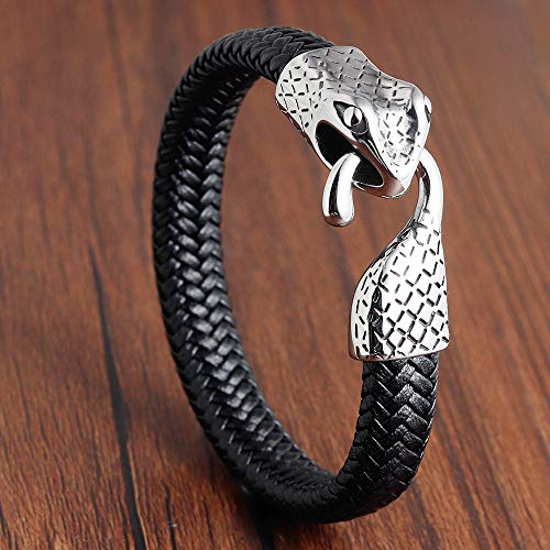 DDSCB Pulsera Hombre Cuero,Mens Leather Bracelet,Snake Head Black Leather Bracelets with Alloy Buckle Punk Surround Bangle Cuff Wristband For Women Husband Teens