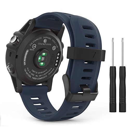 MoKo Pulsera Compatible con Garmin Fenix 3/3 HR/5X/5X Plus/D2 Delta PX/Tactix Bravo/Descent Mk1/Quatix 3, Correa de Silicona Respirable y Reemplazable, Banda de Reloj Deportivo - Azul Medianoche