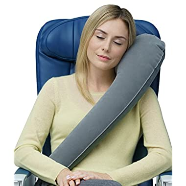 Travelrest - Ultimate InflatableTravel Pillow/Neck Pillow - Ergonomic, Patented & Best Adjustable for Airplane, Auto, Bus, Train, Office Napping, Camping, Wheelchair (Rolls Up Small) (Grey)