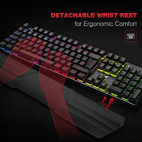 havit Wired RGB Mechanical Gaming Keyboard and Mouse Combo Set UK Layout, Blue Switch Mechanical Keyboard with Detachable Ergonomic Wrist Rest 4800Dots Per Inch Programmable Wired Mouse,Black