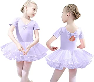 Girls Ballet Tutu Slim Dress Short Sleeve Soft Cotton with Back Bow-knot for Dancing Athletic Leotards Age 4-8 Years
