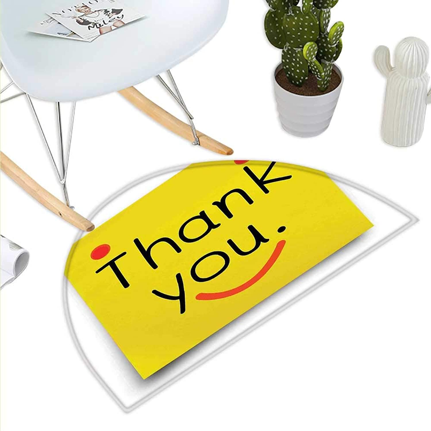 Funny Semicircle Doormat Thank You Emoji Icon On Notepaper Sticky Post It Yellow Smiley Face Print Halfmoon doormats H 43.3  xD 64.9  Yellow orange Black