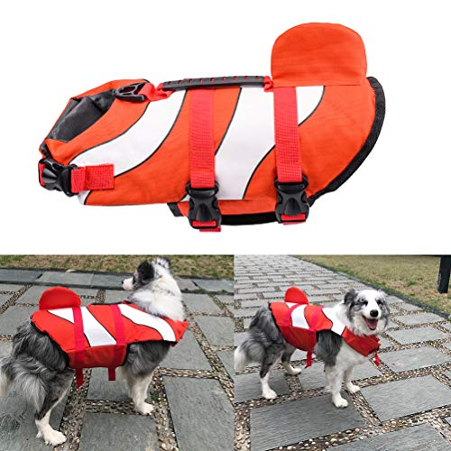 POPETPOP Schwimmweste für Hunde, Hund Schwimmwesten zum Schwimmen Outdoor Sicherheitsweste - Dog Saver Schwimmweste für die Sicherheit am Strand, Pool, Bootfahren - Größe S (Rot)