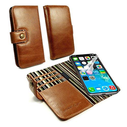 Alston Craig LZR_C3_86 Personalisiert Vintage Echt Leder Hülle Tasche Kartenfach Mit RFID Stopp Technologie Herausnehmbarem Magnetic Backcover Für Apple iPhone X/XS- Braun