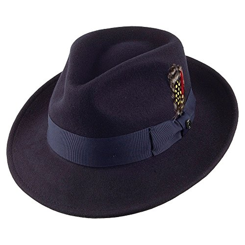 Jaxon & James Chapeau Fedora Déformable C-Crown Bleu Marine Large
