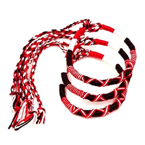Lote de 3 pulseras brasileñas de la amistad de algodón trenzado, macramé, amuleto de la suerte para hombre, mujer, niña, niña, blanco, negro y rojo
