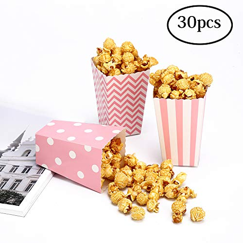 30 Popcorn Boxes Pink Trio Polka Dot, Chevron, and Striped Assorted Designs - Movie Theater Night, Festivals, Wedding Favors