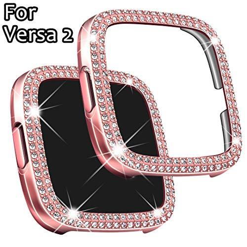Falandi Kompatibel mit Fitbit Versa 2 Hülle, Face Cover Bling Crystal Diamonds Shiny Strass Bumper, PC Plated Hard Protective Frame for Versa 2 Smartwatch Frauen Mädchen