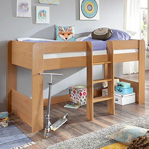Relita Halbhohes Kinderbett in Buche Nachbildung ● inkl. Leiter ● Spielbett mit 90x200cm Liegefläche
