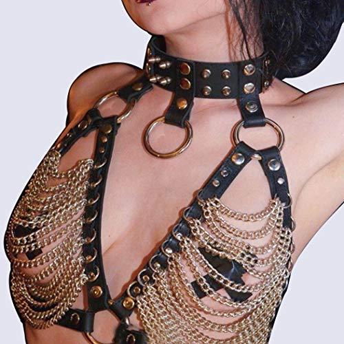 Sethain Punk Leder Brustkette Gold PU-Kabelbaum Nachtclub Körperketten Schmuckzubehör für Frauen und Mädchen