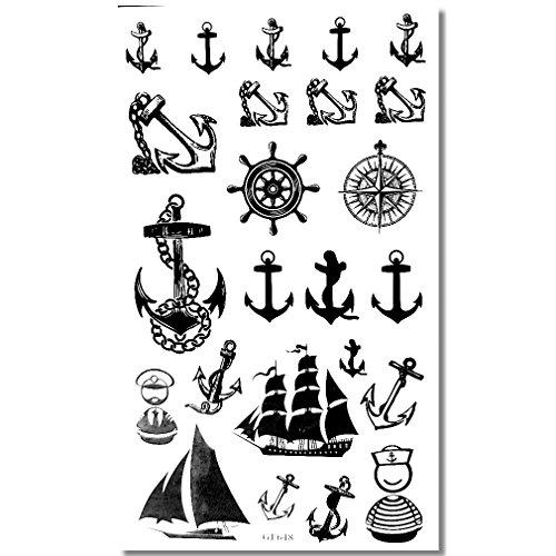 EROSPA® Tattoo-Bogen temporär - Schiffsanker Marine Seefahrt Seemann 10 x 17 cm