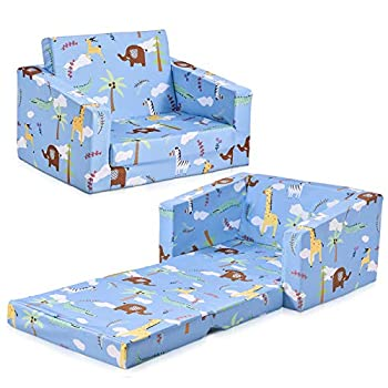 Houssem Folding Kids Sofa Chair 2 in 1 Flip Open Foam Recliner Sofa Bed for Children Nap and Play Upholstered Couch Chair Kids Sofa Blue