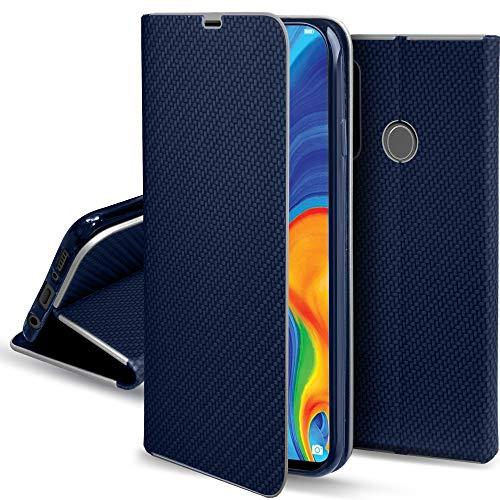 Moozy Funda con Tapa para Huawei P30 Lite, Carbono Azul Oscuro – Flip Cover con Bordes Metalizados de Protección Elegante, Soporte y Tarjetero
