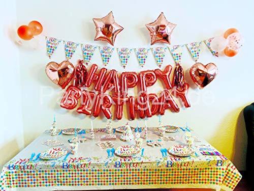 Happy Birhtday - Vajilla para fiesta de cumpleaños infantil (145 piezas), diseño...