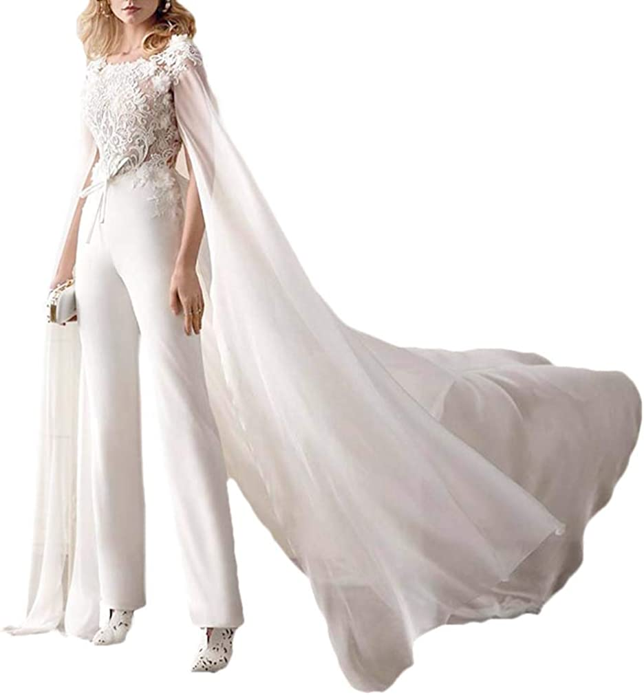 CY 2021 Wedding Dress Jumpsuits with Wrap Floral Appliqued Short Sleeves Bridal Gowns Open Back