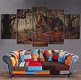 High Definition Leinwanddruck Gemälde Gemaltes Ölgemälde Fünf Halloween Gruselige Kabine Dekoration Wohnzimmer Poster Bild Leinwanddrucke,A,30 * 60 * 2+30 * 70 * 2+30 * 80 * 1