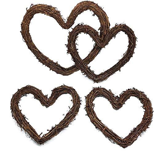 Yalulu 4pc 4-10 Inch Christmas Rattan DIY Craft Projects Natural Twig Grapevine Heart Shaped Garland Hanging Wreaths Rattan Festive Shop Window Door Decor