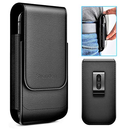 Stronden iPhone 11 Pro, XS, X Holster, Vertical Leather Holster Case with Belt Clip [Magnetic Closure] Pouch w/Built in ID Card Holder (Fits Phone w/Otterbox Commuter/Symmetry Case on)
