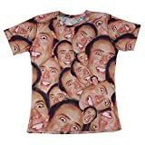 7eaven Shop 3D Print Laugh Nicolas Cage Face T-shirt with Hip Hop Sleeves