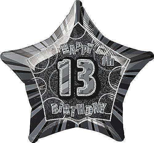 20 Foil Glitz schwarz Happy 13th Birthday Balloon by Unique Party