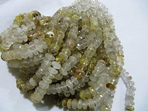 Shree_Narayani Oro rutilado Rondelle facetado 8 a 9mm oro rutilo facetado hebras 8 'largo semi preciosas perlas al por mayor tasas de piedra natal perlas 1 hebra