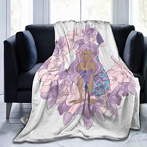 Qing_II Manta de forro polar con diseño de flores de sirena de chocolate y dibujos animados bajo el agua, océano, crucero, viajes, franela tropical, manta suave y cálida de invierno para cama, sofá, silla de oficina