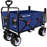 BEAU JARDIN Folding Push Wagon Cart 300 Pound Capacity Collapsible Utility Camping Grocery Canvas Fabric Sturdy Portable Rolling Lightweight Buggies Outdoor Garden Sport Heavy Duty Shopping Wide Wheel