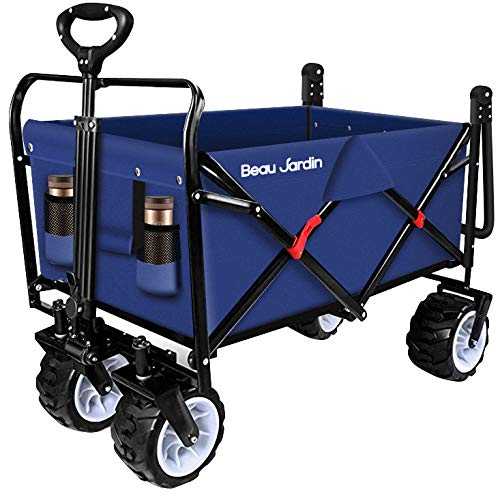 BEAU JARDIN Folding Push Wagon Cart 300 Pound Capacity Collapsible Utility...
