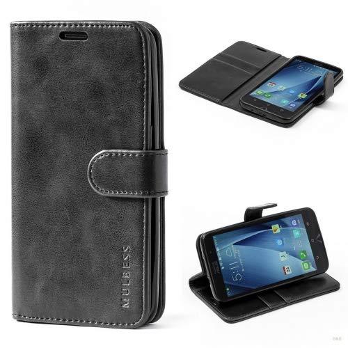 Mulbess Handyhülle für Asus ZenFone 2 ZE551ML Hülle, Leder Flip Case Schutzhülle für Asus ZenFone 2 ZE551ML Tasche, Schwarz