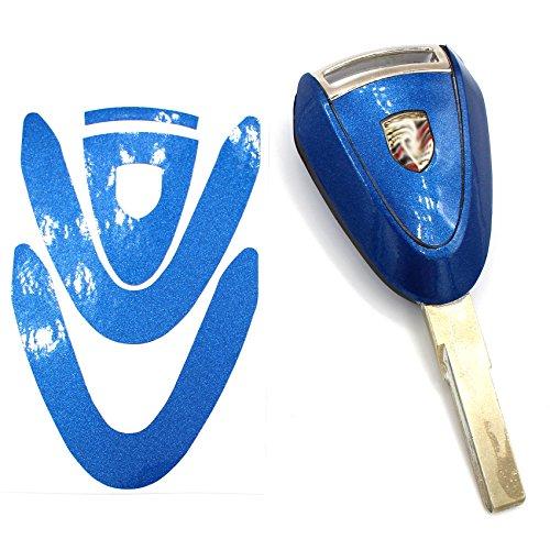 Sleutelfolie PB voor 3 toetsen auto sleutel cover folie decor sticker blauw metallic