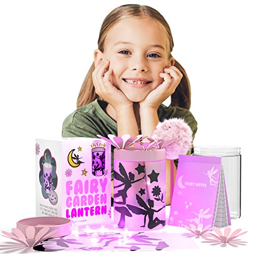 Fairy Garden Kit for Kids - Lantern Star Night Light - Gifts for 8 Year Old Girls - Arts and Craft Accessories Kits for Girls Ages 4-8 - DIY Bedroom Decor w Jar Lights Cute Stickers Fluffy Pen Notepad