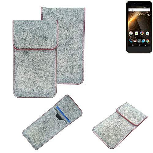 K-S-Trade® Handy Schutz Hülle Für Allview P6 Energy Mini Schutzhülle Handyhülle Filztasche Pouch Tasche Hülle Sleeve Filzhülle Hellgrau Roter Rand