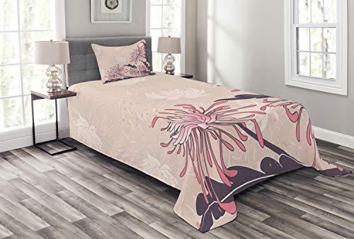 ABAKUHAUS Jugendstil Tagesdecke Set, Chrysanthemum Bloom, Set mit Kissenbezug Mit Digitaldruck, für...