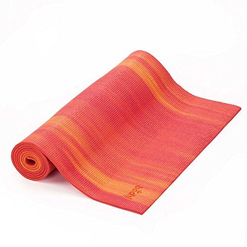 Tapete de Yoga tie dye ganges, PVC eco, confortável, yoga mat indicado para iniciantes, ginástica e pilates 183x60cm (Vermelho/Laranja)