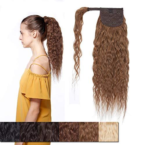 Ponytail Extension Haarteile Echthaar Corn Wave Haarverlängerung Pferdeschwanz Extensions Echthaar 7A Remy Hair Clip in Extensions Echthaar Wrap Around Zopf Extension 45cm-90g #06 Hellbraun