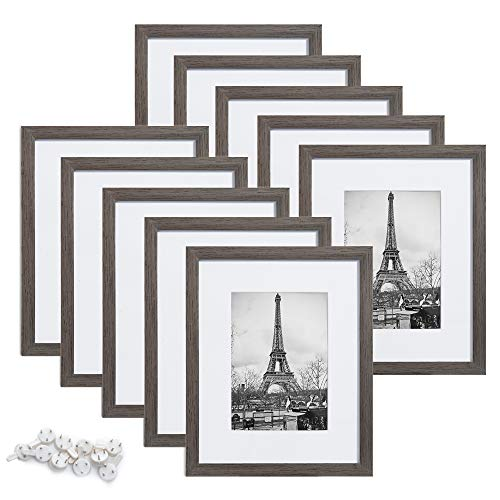 upsimples 8x10 Picture Frame Set of 10,Display Pictures 5x7 with Mat or 8x10 Without Mat,Multi Photo Frames Collage for Wall or Tabletop Display,Metallic Gray