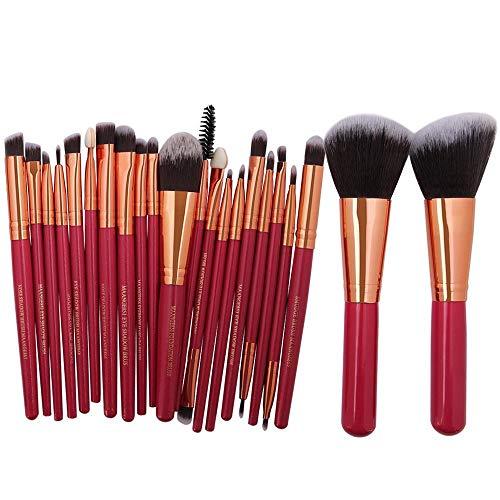 Pinceaux Maquillages Professionnels Kit de 8pcs, Poils Synthétiques Vegan, Soyeux et Denses,(Poudres, Crèmes, Liquides) Costume 22 pièces, tube en or rose rouge