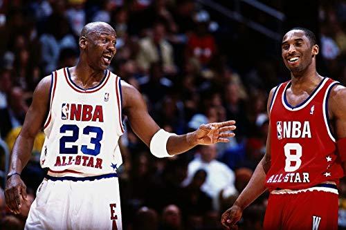 Póster de baloncesto de la NBA de Kobe and Jordan de All Star Game de 30 x 45 cm