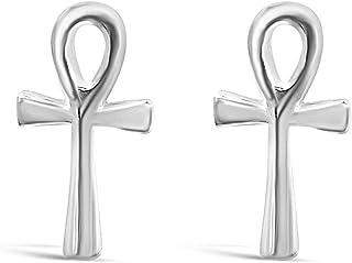 Sterling Silver Ankh Cross Post Stud Earrings – Dainty Egyptian Studs – 925 Silver Gothic Cross Earrings