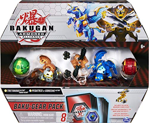 Bakugan Baku-Gear 4-pak, Tretorous Ultra z Baku-Gear i Fused Pegatrix x Goreene Ultra kolekcjonerskie figurki akcji