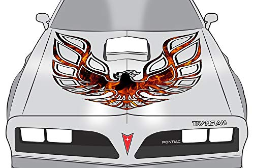 Car-Gear Universal Firebird Hood Graphics Kit 3M Vinyl Decal Wrap Compatible with Pontiac Trans Am - Orange Flames