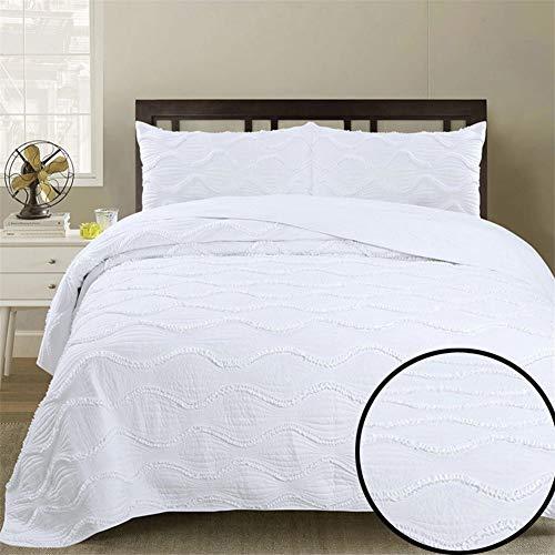 ADGAI Colchas Super King Size Blanco 100% Algodón Flor Bordada Ligero Patchwork Colcha Acolchada Colcha Doble Cobertores Edredón con 2 Funda de Almohada, 250 x 270 cm