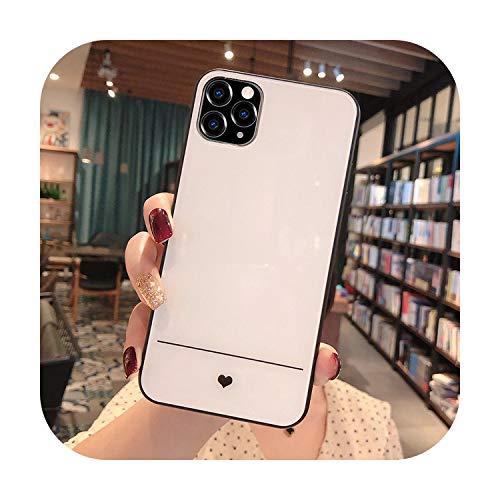 Caja de cristal templado del teléfono del corazón del amor para el iPhone 7 8 6 6s más cubierta trasera de cristal para el iPhone 11 Pro X XR XS Max-White-para el iPhone 7