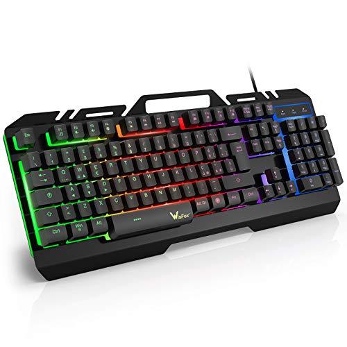 Tastiera Gaming, WisFox Tastiera Metallica Cablata USB Tastiera, Tastiera da Computer Cablata Retroilluminata a Colori Rainbow Resistente Agli Schizzi per PC Windows   Mac