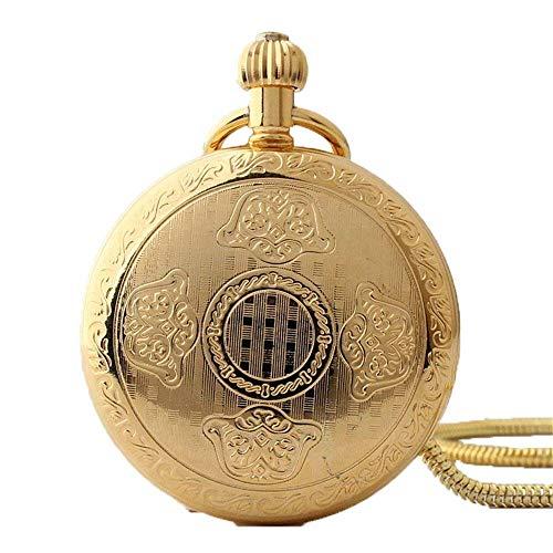 SGSG Reloj de Bolsillo Patrón Personalizado Steampunk Retro Vintage Cuarzo Números Romanos Reloj de Bolsillo