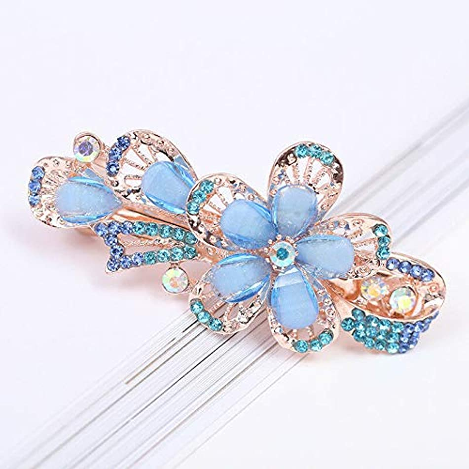 Chic Women Girl Crystal Rhinestones Flower Hairpin Hair Clip Barrette (Color - Blue #1)