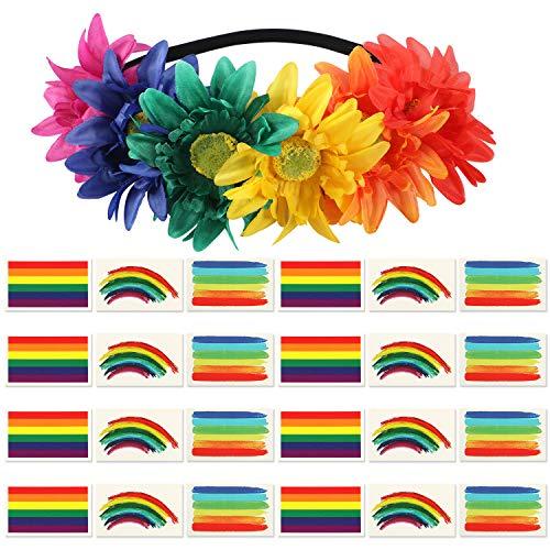 VAMEI Gay Pride Coroncine Fiori per Capelli Tatuaggi Temporanei LGBT Accessori Stickers Rainbow Flag Bandiera lgbt Body Tattoo CSD