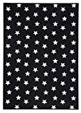 onloom Moderner Teppich in Schwarz-Weiß, Designerteppich in 3 Motiven. Flachwebteppich, geometrische Muster, Größe:100 x 150 cm, Farbe:Sterne